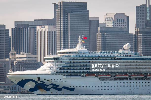 The Carnival Corp Grand Princess cruise ship sails toward the Port of Oakland in San Francisco California US on Monday March 9 2020 The cruise ship...