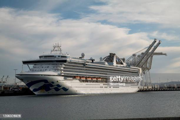 The Carnival Corp Grand Princess cruise ship sits docked at the Port of Oakland in Oakland California US on Monday March 9 2020 The cruise ship that...