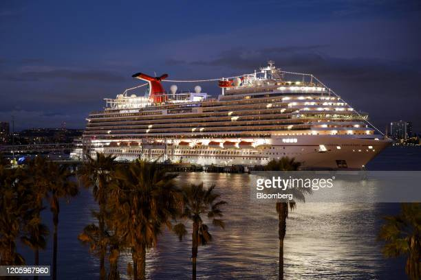 The Carnival Corp Panorama cruise ship sits docked in Long Beach California US on Saturday March 2020 The Panorama was cleared to sail early Sunday...