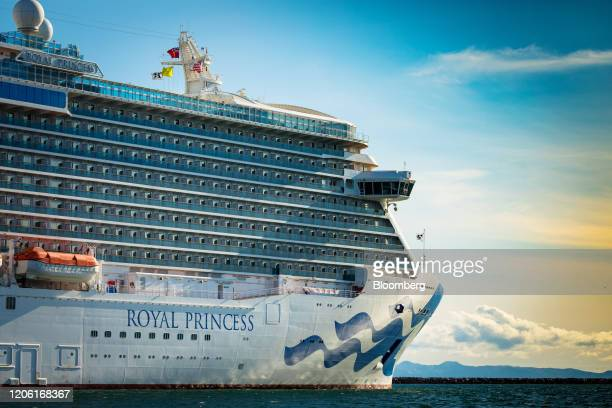 The Carnival Corp Royal Princess cruise ship sits docked outside the Port of Los Angeles in Los Angeles California US on Sunday March 8 2020 The...