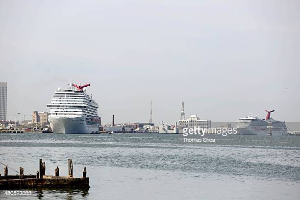 The Carnival Cruise Ship Triumph along with two other cruise ships sit in the Houston Port unable to leave after an oil spill on March 25 2014 in...