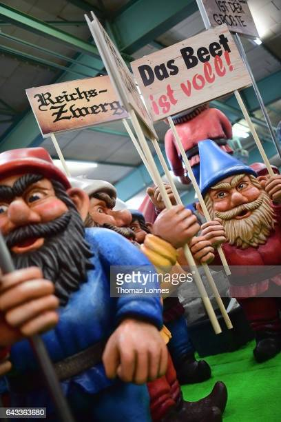 The carnival float 'Zwergenaufstand' featuring rightwing populist parties and fears about refugees pictured during a press preview at the MCV...