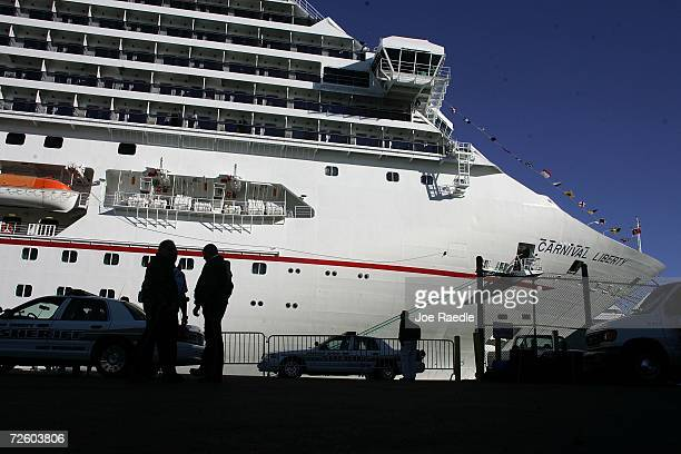 The Carnival Liberty Cruise ship docked at Port Everglades on November 19 2006 in Fort Lauderdale Florida More than 700 passengers and crew were...