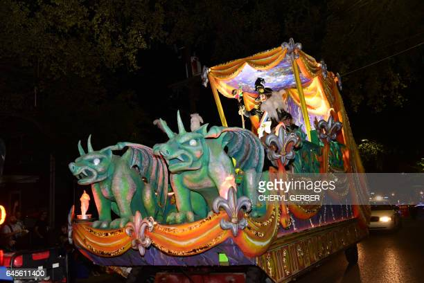 The carnival parading society Krewe D'Etat rolls its satirical float in New Orleans as part of the Mardi Gras celebrations on February 23 2017