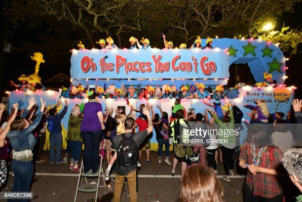 The carnival parading society Muses rolls its satirical float in New Orleans as part of the Mardi Gras celebrations on February 23 2017 The rallying...