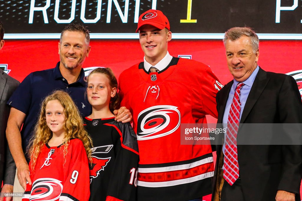 The Carolina Hurricanes draft Andrei Svechnikov in the first round of the 2018 NHL draft on June 22, 2018 at the American Airlines Center in Dallas, Texas.