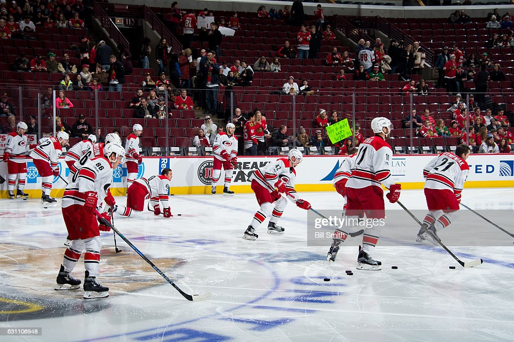 The Carolina Hurricanes warm up prior to the game against the Chicago Blackhawks at the United Center on January 6, 2017 in Chicago, Illinois.