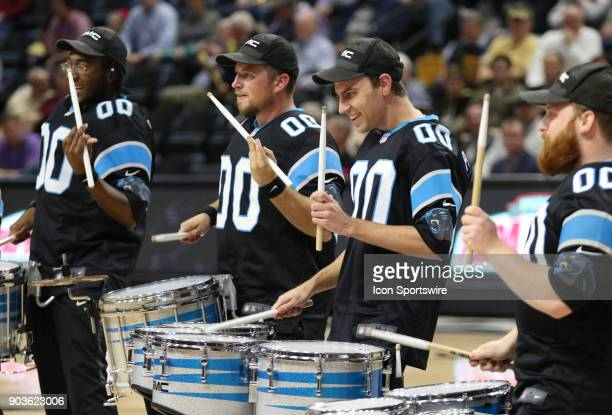 The Carolina Panthers drum line performed during the game Wofford hosted Harvard for some basketball action in Spartanburg South Carolina on January...