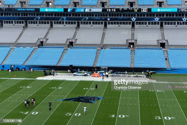 The Carolina Panthers logo is displayed at midfield at Bank of America Stadium on Sunday, Sept. 9, 2018. The logo at midfield marks the first time in...