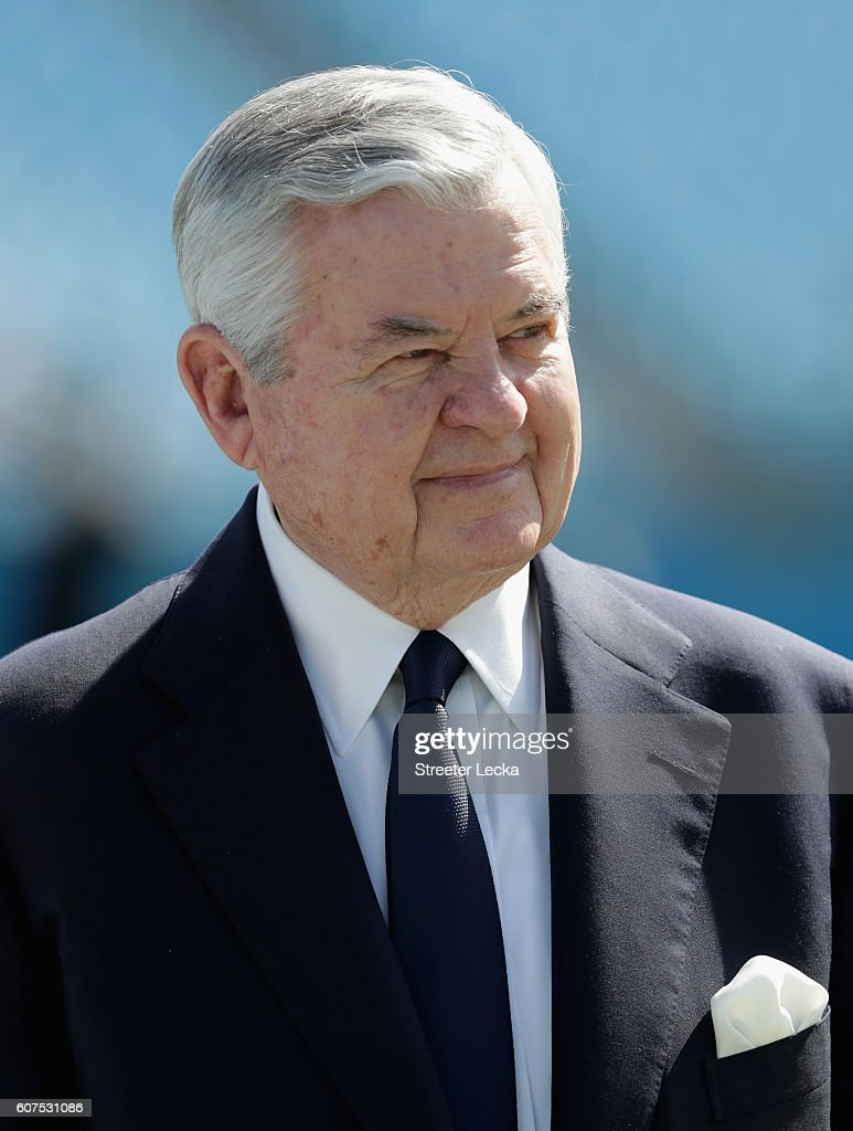 The Carolina Panthers owner Jerry Richardson walks the field before their game against the San Francisco 49ers at Bank of America Stadium on September 18, 2016 in Charlotte, North Carolina.