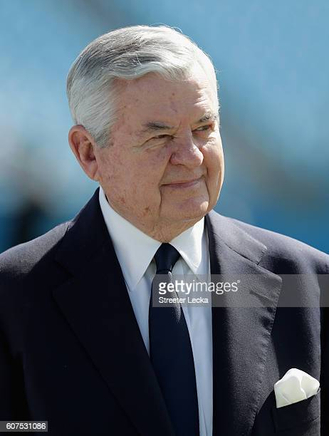 The Carolina Panthers owner Jerry Richardson walks the field before their game against the San Francisco 49ers at Bank of America Stadium on...