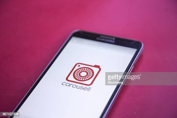 The Carousell Pte logo is displayed on a smartphone in an arranged photograph in Singapore on Thursday May 24 2018 Sixyearold Carousell operates in...