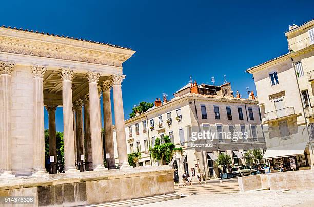 la maison carree at nimes, france - gard stock photos and pictures