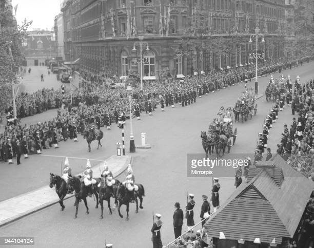 The Carriage Procession of Princes and Princesses of the Blood Royal escorted by the NCO's of the Household Cavalry along Northumberland Avenue to...