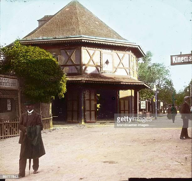 The carrousel 'Calafati' at the Viennese Volksprater Vienna Handcolored lantern slide Around 1915