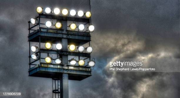 The Carrow Road floodlights on during the Barclays Premier League match between Norwich City and Arsenal on May 11, 2014 in Norwich, England.