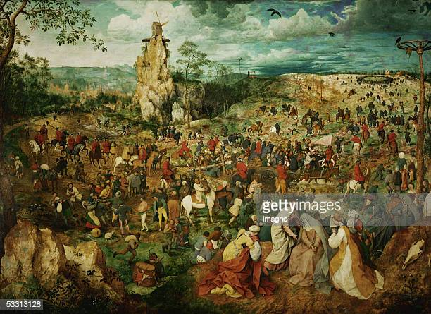 The Carrying of the Cross with Bruegel's selfportrait on the right of the tree trunk Oil on oakwood Size 124 x 170 cm Cat 49 Inv 1025 [Das tragen des...