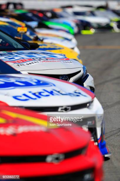 The cars are lined up prior to the 60th running of the Daytona 500 on February 18 at the Daytona International Speedway in Daytona Beach FL