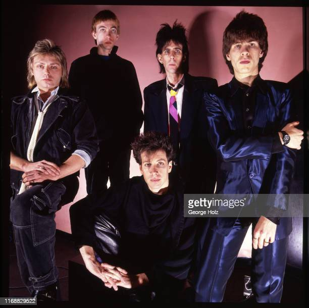 Benjamin Orr Greg Hawkes David Robinson Ric Ocasek and Elliot Easton are photographed for Elektra Records in 1984 in Boston Massachusetts