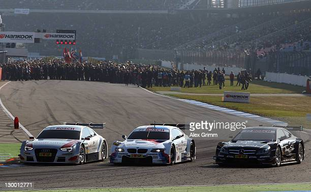The cars for the 2012 season of the German manufacturers Audi BMW and Mercedes are presented prior to the final run of the DTM 2011 German Touring...