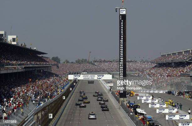 The cars leave the grid at the start of the FIA Formula One Grand Prix at the Indianapolis Motorspeedway, Indianapolis, USA on September 29, 2002. .