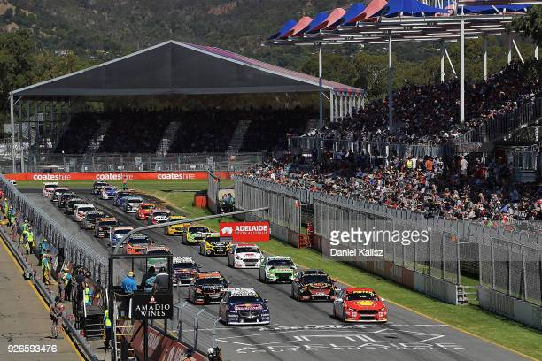 The cars line up on the grid during race 1 for the Supercars Adelaide 500 on March 2 2018 in Adelaide Australia