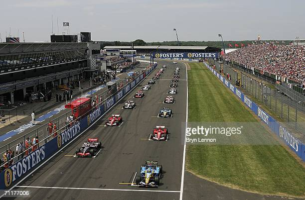 The cars line-up on the grid for the start of the F1 British Grand Prix on June 11th, 2006 at Silverstone, England.
