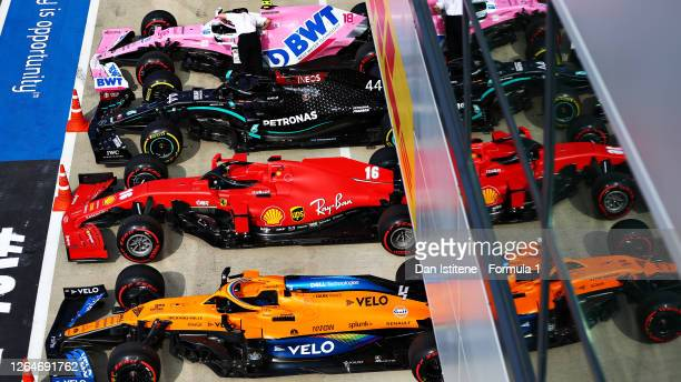 The cars of Lewis Hamilton of Great Britain and Mercedes GP, Lance Stroll of Canada and Racing Point, Charles Leclerc of Monaco and Ferrari and Lando...