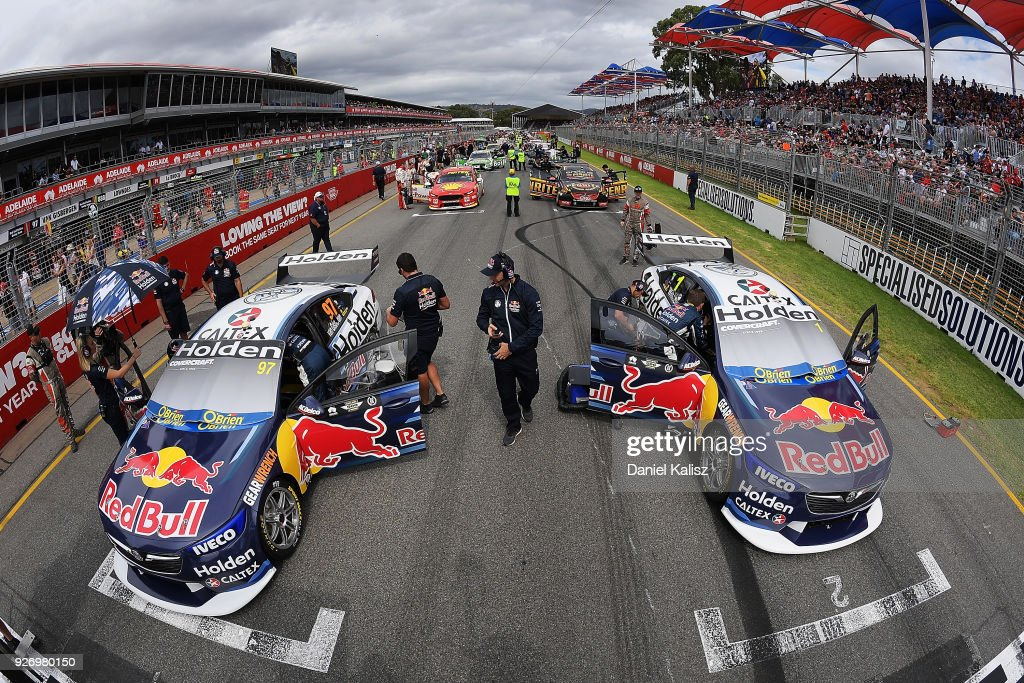 The cars of Shane Van Gisbergen driver of the #97 Red Bull Holden Racing Team Holden Commodore ZB and Jamie Whincup driver of the #1 Red Bull Holden Racing Team Holden Commodore ZB are pictured on the grid prior to the start of race 2 for the Supercars Adelaide 500 on March 2, 2018 in Adelaide, Australia.