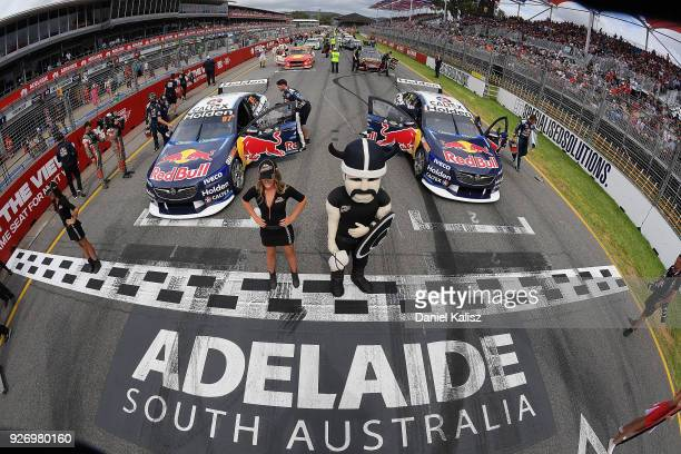 The cars of Shane Van Gisbergen driver of the Red Bull Holden Racing Team Holden Commodore ZB and Jamie Whincup driver of the Red Bull Holden Racing...