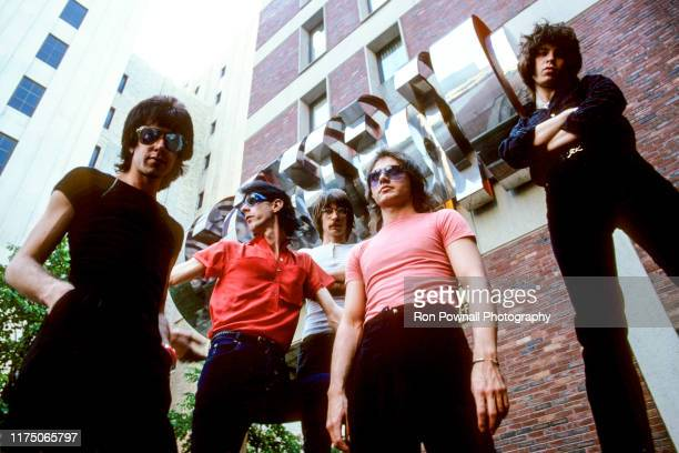 The Cars outside City Hall Plaza July 7 1978 in Boston MA David Robinson Rick Ocasek Greg Hawkes Benjamin Orr Elliot Easton
