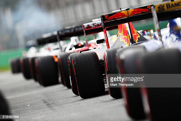 The cars wait to go out in the Pitlane during qualifying for the Australian Formula One Grand Prix at Albert Park on March 19, 2016 in Melbourne,...