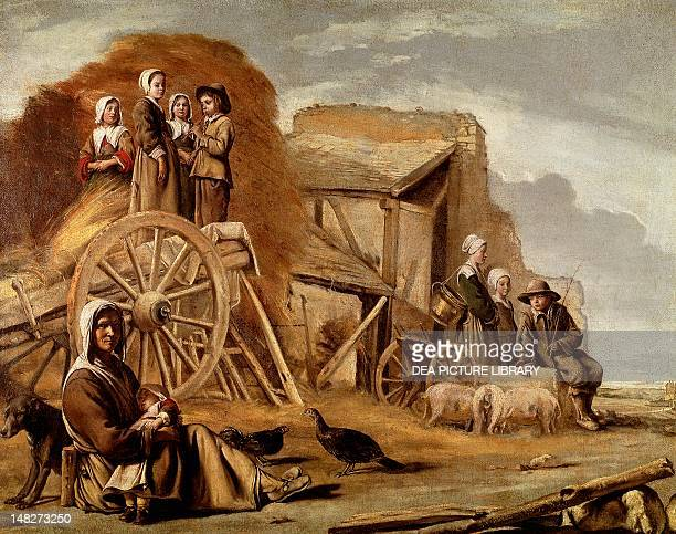 The Cart or Return from Haymaking by Louis Le Nain or Antoine Le Nain oil on canvas 56x72 cm Paris Musée Du Louvre