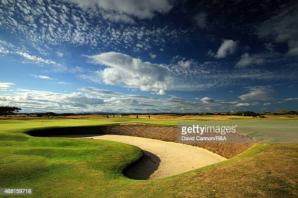 The 'Cartgate Bunker' that guards the left side of the par 4 third green and the rear of the par 4 15th green on the Old Course in St Andrews on July...