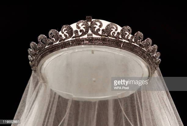 The Cartier 'Halo' tiara worn by the Duchess of Cambridge on her wedding day is photographed before it goes on display at Buckingham Palace during...
