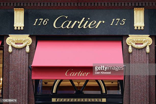 The Cartier name is displayed outside the Cartier store on Bond Street on January 24 2011 in London England Despite the expected retail slump sales...