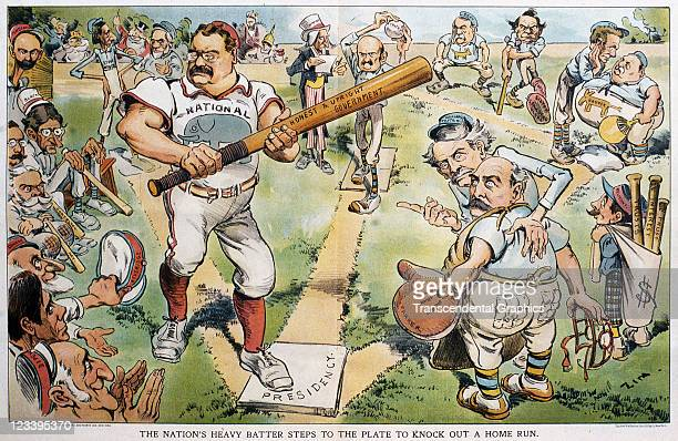 The cartoon image of Teddy Roosevelt as a baseball player on the field amongst other political players is the topic for Puck magazine printed early...