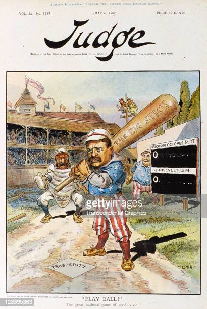The cartoon image of Teddy Roosevelt as a boxer between rounds is the cover art for Puck magazine issue May 4 1904 in New York City