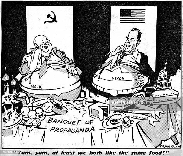 The cartoon refers too Soviet leader Nikita Khrushchev and US VicePresident Richard Nixon terse exchange of words about the merits of communism...