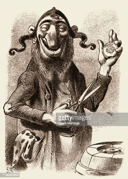 The cartoon shows a caricature of a man depicted with a large nose 1912 The man has a pair of scissors in one hand and appears to have cut a small...