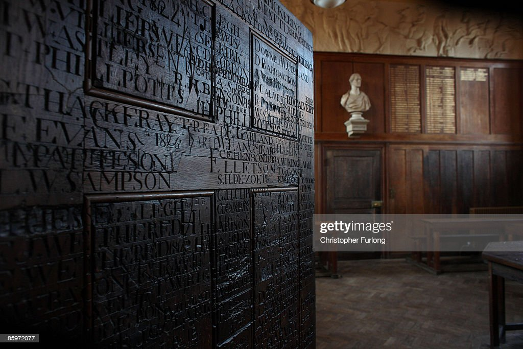The carved names of past pupils adorn the oak panelled headmasters classroom in Upper School of Eton College on November 15, 2007 in Eton, England. An icon amongst private schools, since its founding in 1440 by King Henry VI, Eton has educated 18 British Prime Ministers, as well as prominent authors, artists and members of royal families from around the world. The school caters for some 1300 pupils divided into 25 houses each one overseen by a housemaster chosen from the senior ranks of the staff which number around 160.