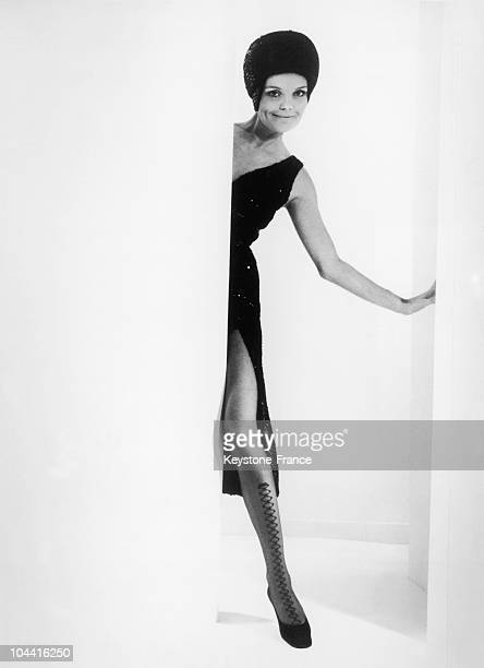 The CARVEN house created NATACHA a novelty pair of stockings simply decorated with a fine band of diamond shapes on the top of the foot and the front...