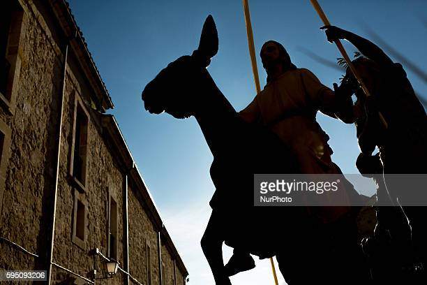 The carving of Jesus riding on a donkey in the Palm Sunday procession that commemorates the triumphal entry of Jesus into Jerusalem in Zamora Spain...