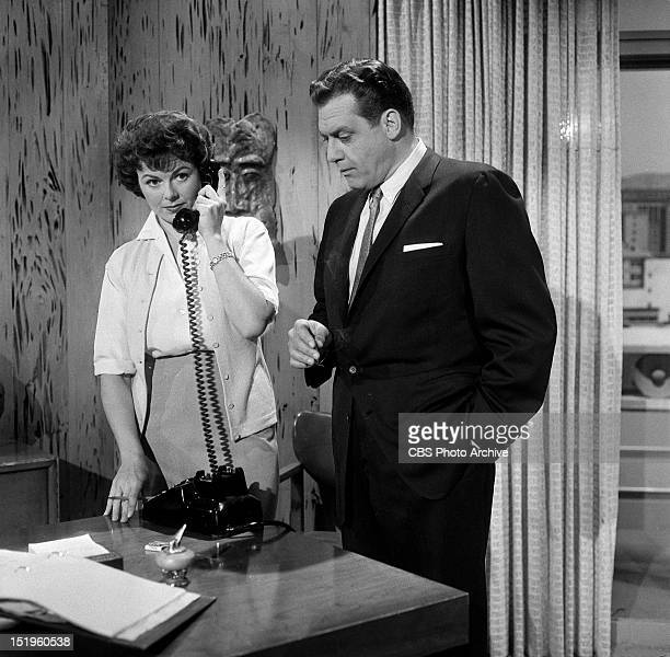 MASON the Case of the Deadly Toy Barbara Hale as Della Street and Raymond Burr as Perry Mason Image dated April 21 1951