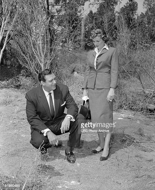 MASON 'The Case of the Runaway Corpse' Perry Mason and Della Street Image dated August 5 1957