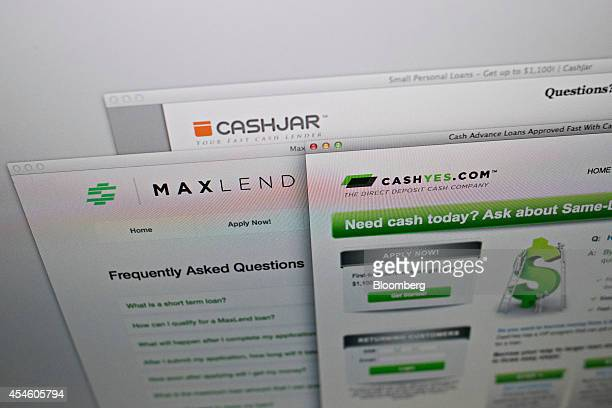 The CashJarcom CashYescom and MaxLendcom websites are arranged for a photograph on a computer screen in Tiskilwa Illinois US on Tuesday Sept 2 2014...
