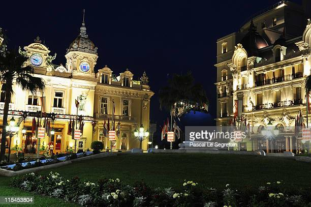 The Casino and the Hotel de Paris are illuminated on June 6 2011 in Monaco Prince Albert II of Monaco and Charlene Wittstock of South Africa will be...