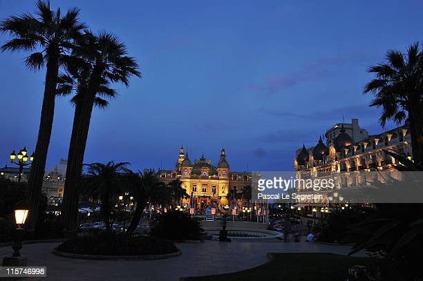 The Casino and the Hotel de Paris are illuminated prior to the upcoming Monaco royal wedding on June 9 2011 in Monaco Prince Albert II of Monaco and...