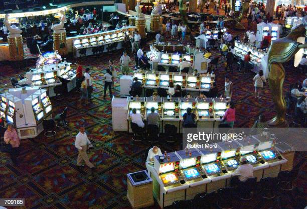 The casino floor at the MGM Grand Hotel and Casino is seen on May 30 2002 in Las Vegas Nevada