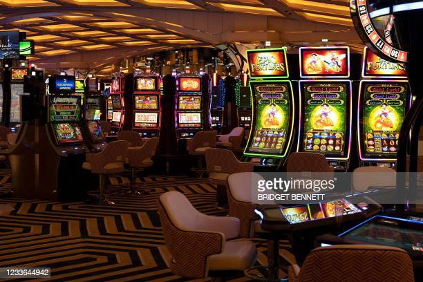 The casino floor of the Resorts World Las Vegas hotel and casino is seen on June 24, 2021 in Las Vegas, Nevada. - A giant new Las Vegas casino...